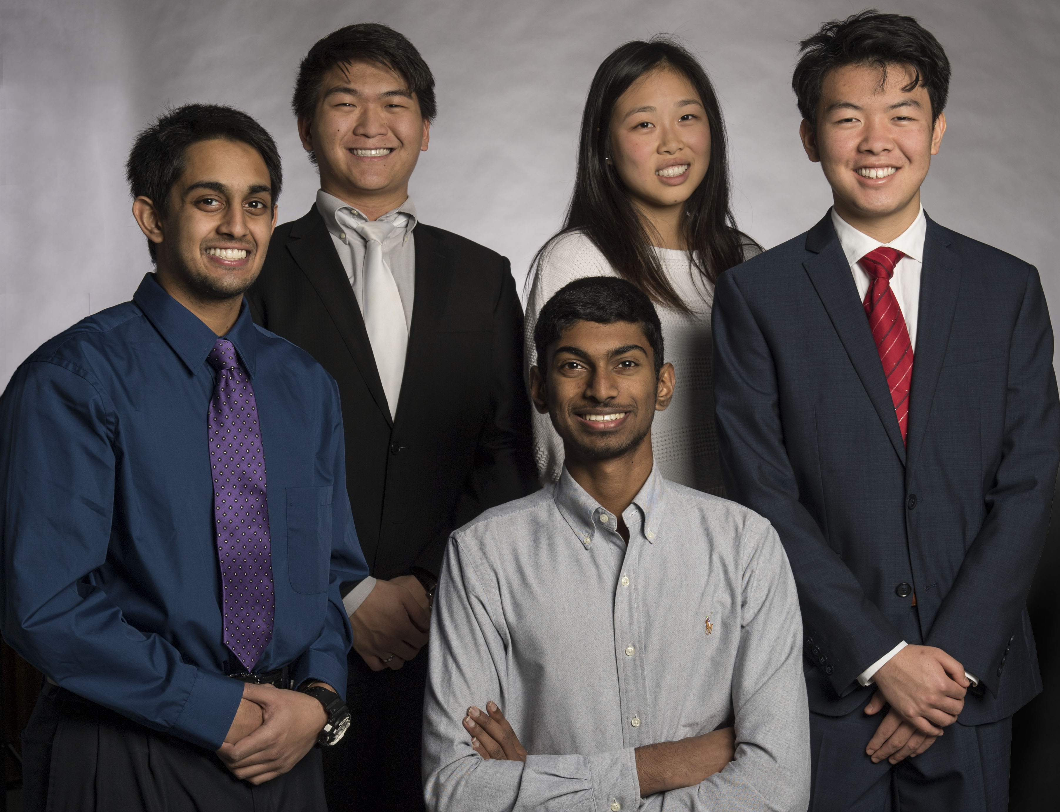 Five students from UNT's Texas Academy of Mathematics and Science were named semifinalists in the 2018 Regeneron Science Talent Search, which honors research of high school students. The students are (front row) Ashwin Kumar of Irving, Abhishek Mohan of Irving and Tan Yan of Coppell, and (back row) Ted Zhao of Arlington and Sarah Zou of Sugar Land.