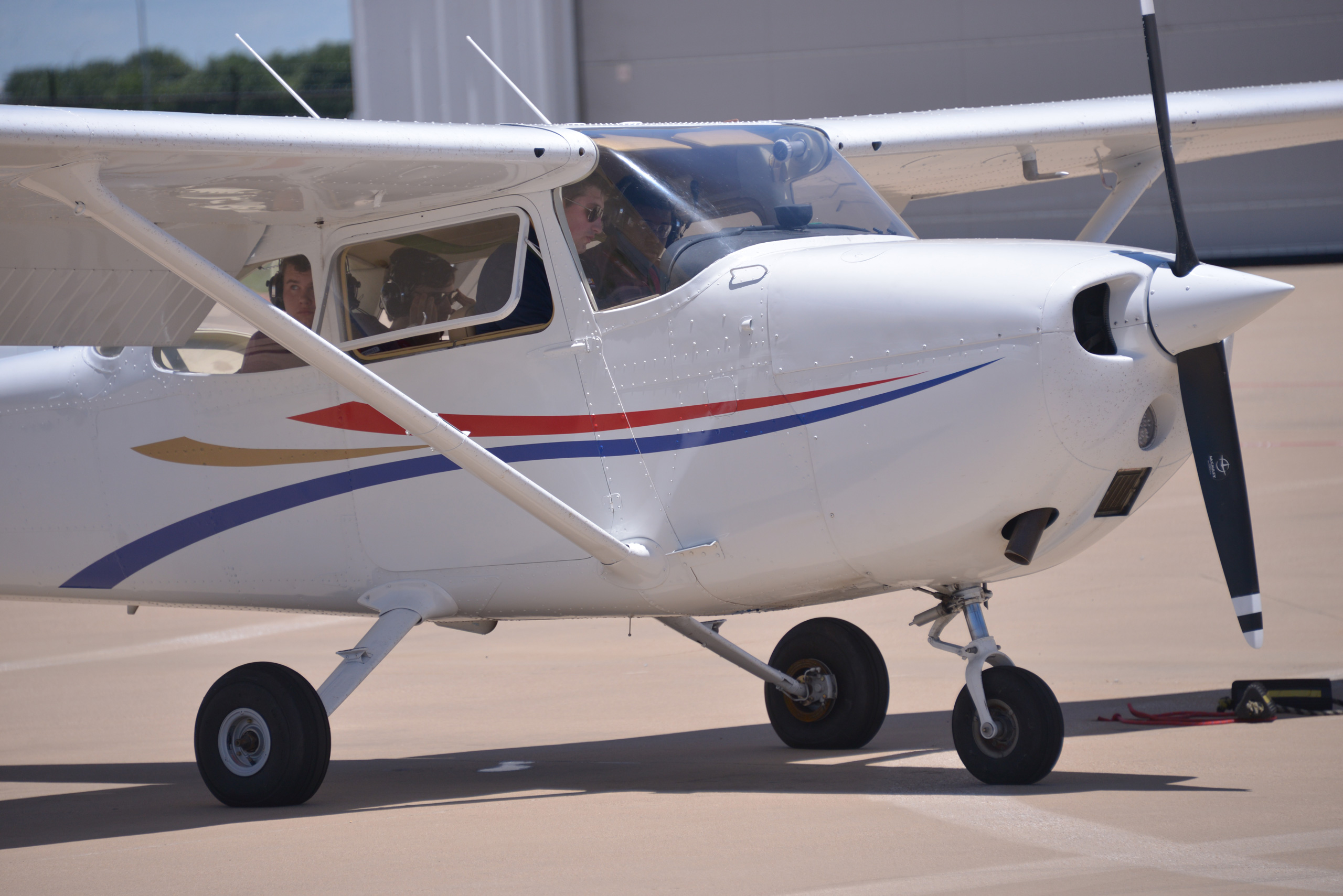 Exterior shot of small airplane.