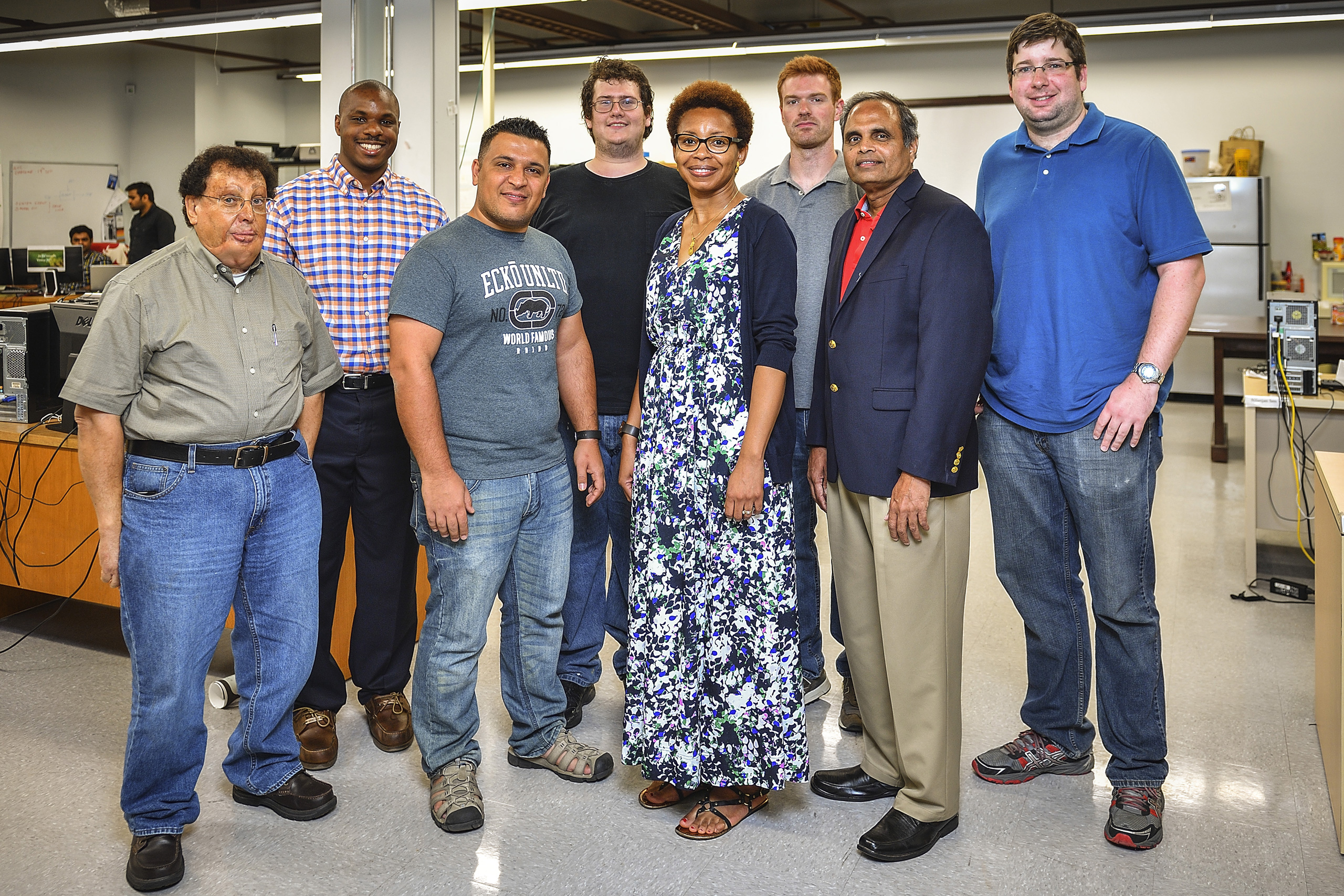 UNT cybersecurity students and professors (from left) Dr. Suliman Hawamdeh, Quentin Mayo, Yassir Hashem, Logan Widick, Obi Ogbanufe, Josh Talkington, Dr. Ram Dantu and Michael Jaynes. Not shown: Dr. Dan Kim and Dr. Victor R. Prybutok.