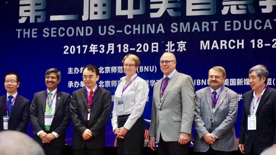 UNT President Neal Smatresk, third from right, and College of Information Dean Kinshuk, second from left, attended the U.S.-China Smart Learning Conference in Beijing, China last month. While there, Smatresk signed an agreement continuing UNT's partnership with Beijing Normal University.