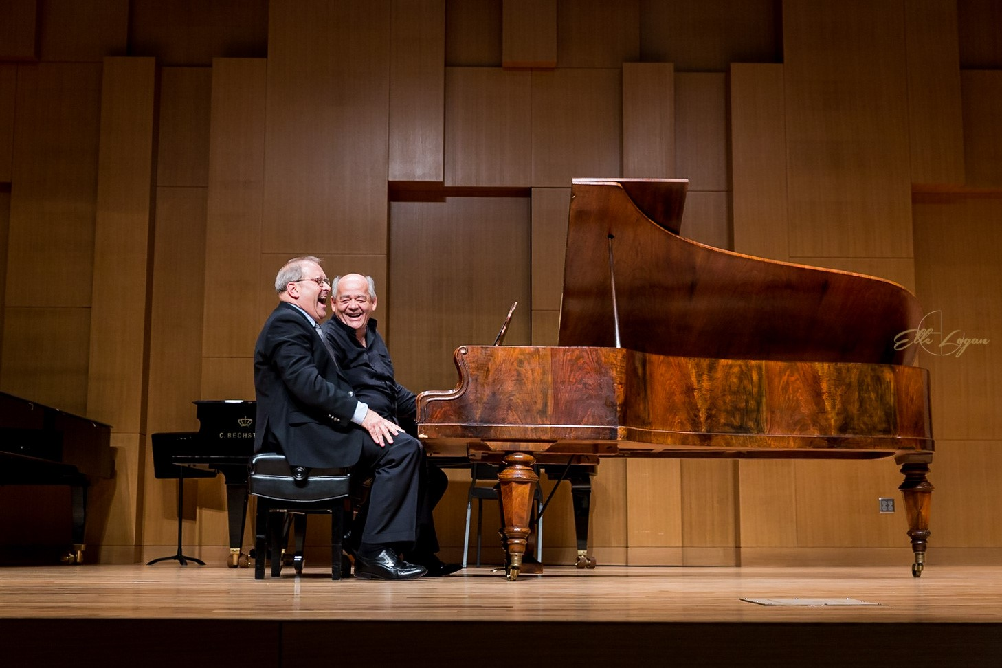 Steven Harlos, UNT piano professor and chair of keyboard studies, and Christoph Hammer, fortepiano professor, perform on an 1870 Stretcher piano at the 2016 CollabFest. 