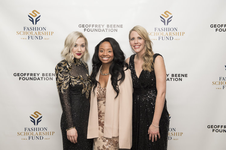 Students Lindsey Lotze and Asia Montague are among more than 200 college students to receive $5,000 scholarships from the YMA Fashion Scholarship Fund. Left to right: Lindsey Lotze, Asia Montague and UNT lecturer Laura Storm. Photo courtesy of the YMA Fashion Scholarship Fund (http://www.ymafsf.org/).