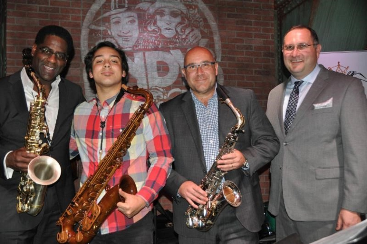 From left, UNT jazz saxophone professor Brad Leali, Saxophone Idol competition winner Howard Dietz, President and CEO of Buffet Crampon USA François Kloc and Buffet Crampon Director of Sales and Marketing Al Maniscalco.