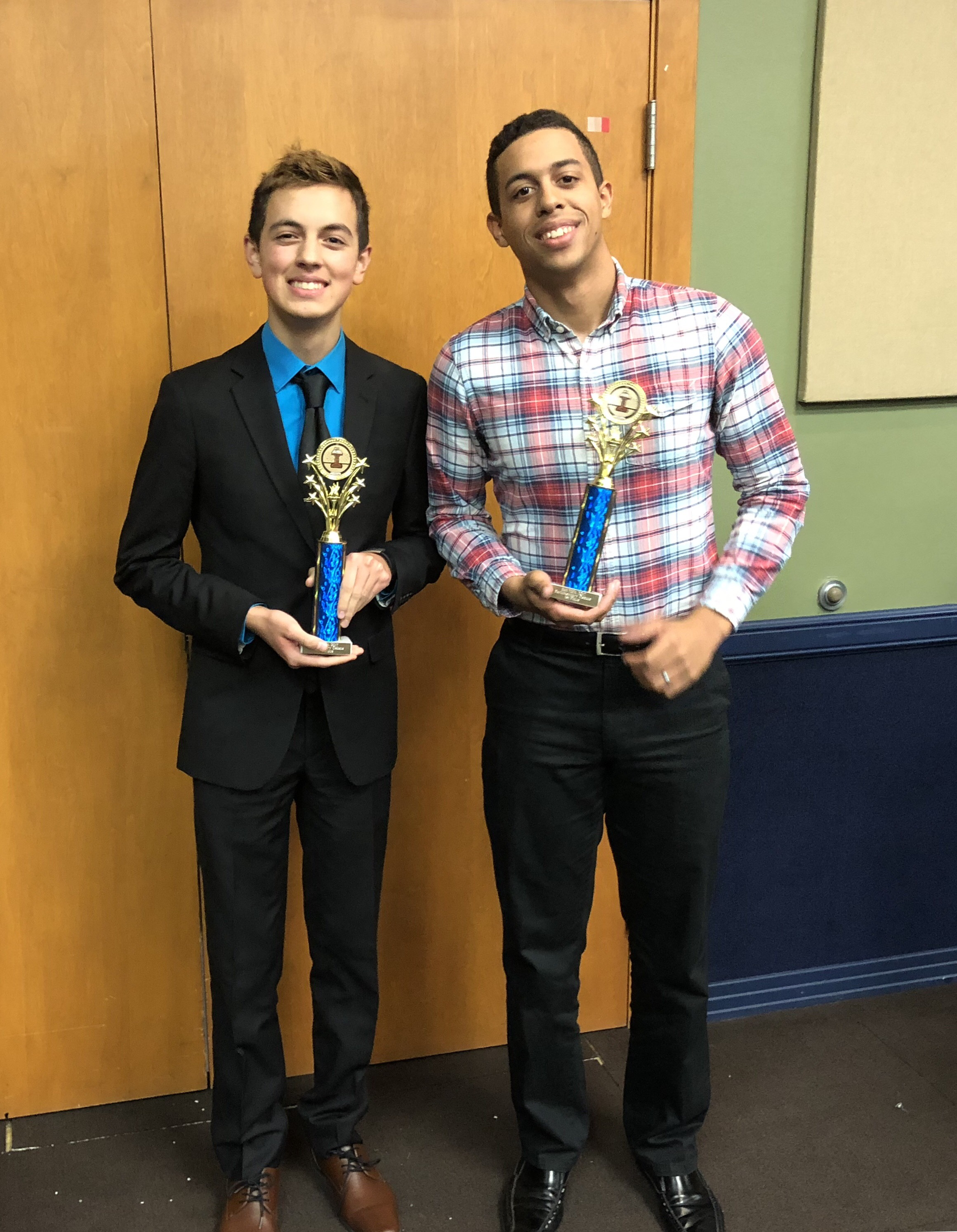 Matthew Hernandez (l) and Abron Hestor qualified for the 2018 National Parliamentary Tournament of Excellence, which will be held March 28-31 at Lewis and Clark College in Portland, Oregon.