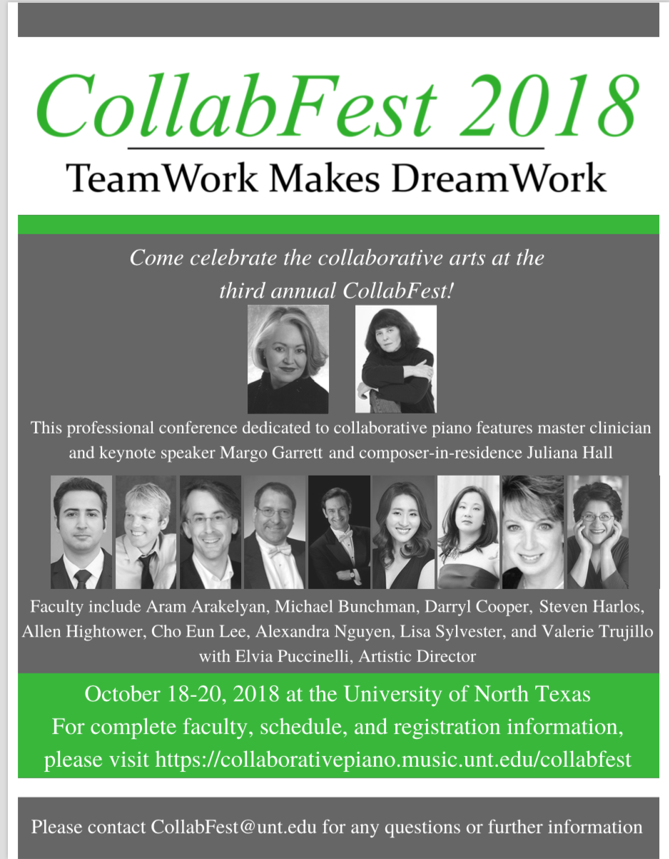 Collaborative pianists to gather at UNT for 2018 CollabFest