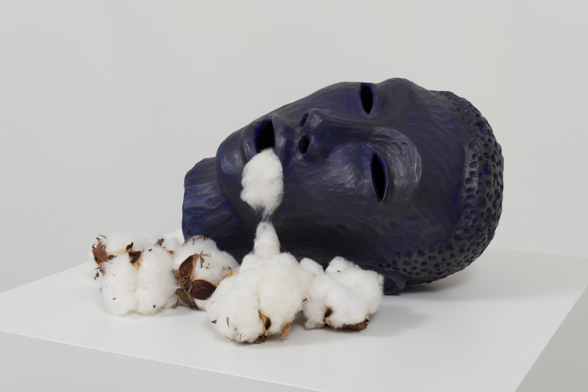 Cotton Eater (head) AIS13-30 D.jpg Alison Saar Cotton Eater (head), 2013 ceramic, acrylic, graphite and cotton bolls 7 1/2 x 13 x 10 1/2 inches Collection of Jordan D. Schnitzer (HIPM) Courtesy the artist