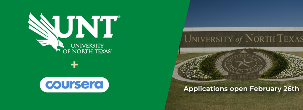 University of North Texas Announces Fully Online Bachelor's Degree Completion Program on Coursera
