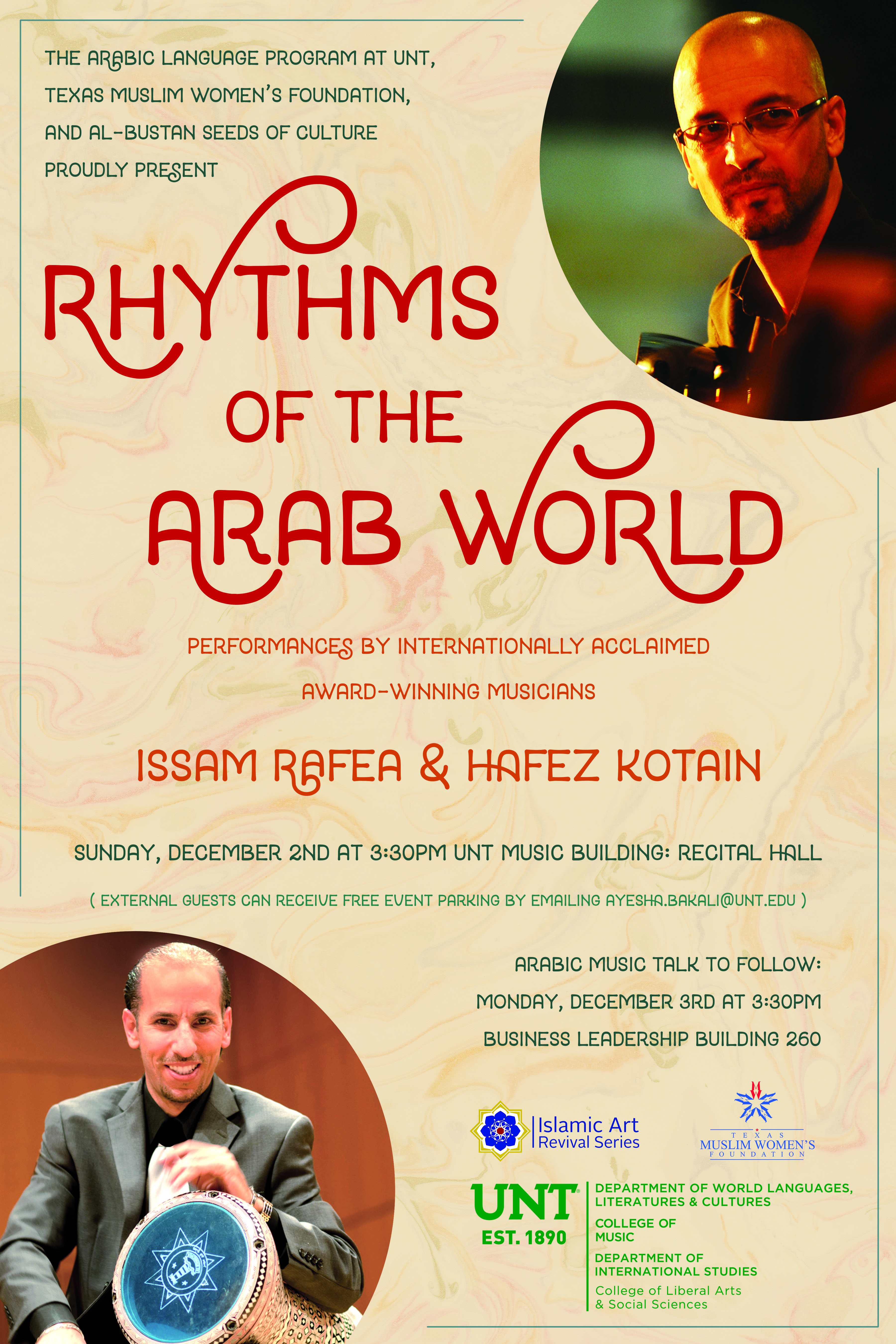 "UNT hosts guest artists from Al-Bustan Seeds of Culture and presents ""Rhythms of the Arab World"""