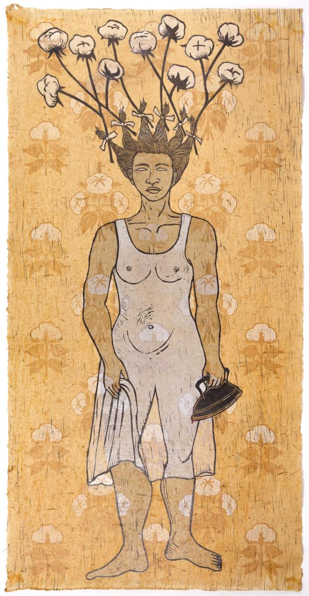 Saar-WhiteGuise.jpg Alison Saar White Guise, 2018-2019 Woodcut, relief, shellac-stained paper, hand-tinted iron 55 x 27.5 inches P.R.I.N.T. Press at the University of North Texas Courtesy of the artist