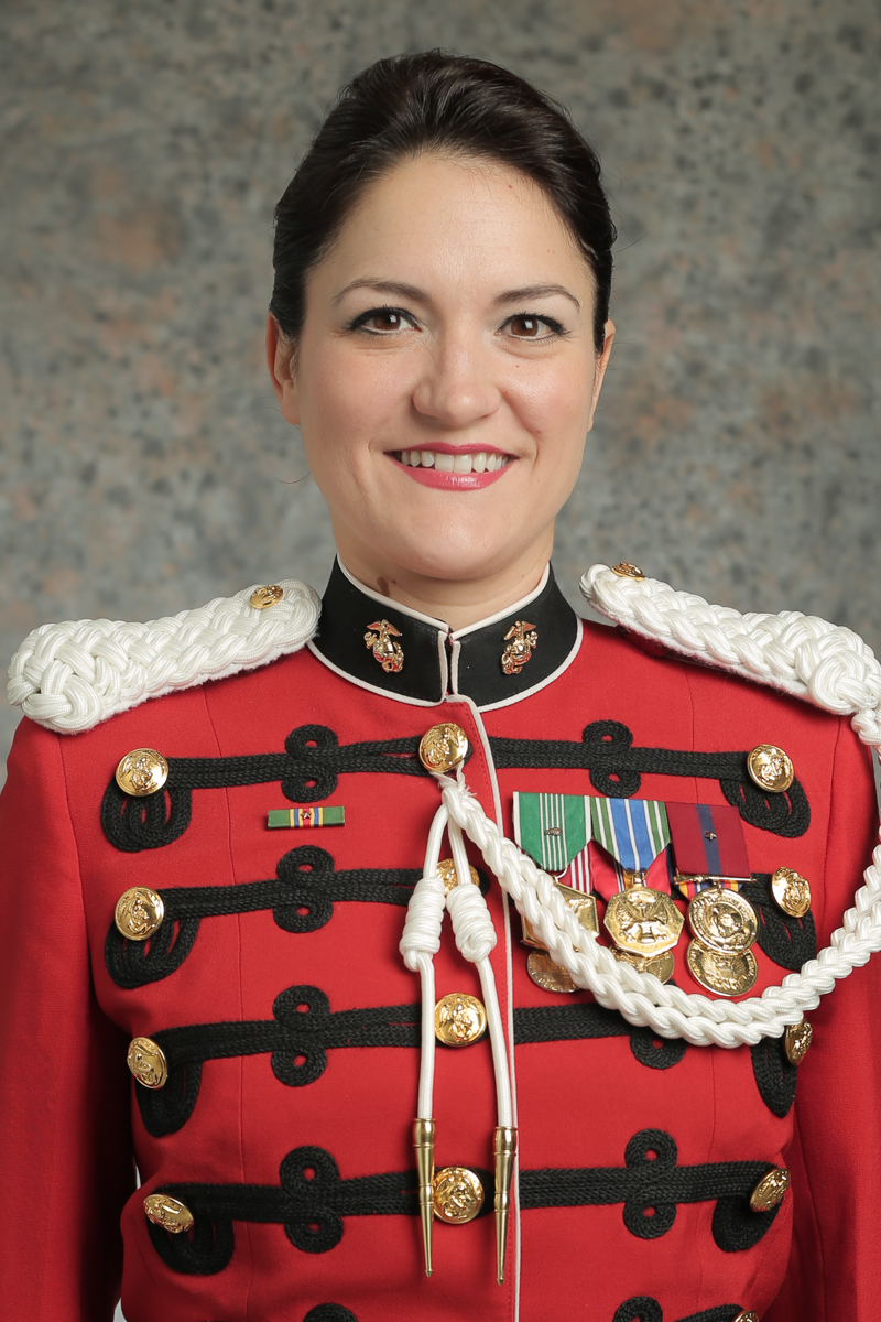 College of Music alumna Gunnery Sgt. Sara Sheffield is the first featured female vocal soloist in Marine Band history and was part of the chorus at the state funeral for former President George H. W. Bush in Washington, D.C.