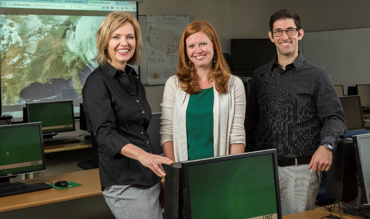 University of North Texas doctoral student Britt-Janet Kuenanz (left) and faculty members in UNT's Department of Emergency Management and Disaster Science, Laura Siebeneck and Ronald Schumann will research what encourages individuals impacted by disasters to stay or return to their communities, and what barriers prevent them from staying or returning.