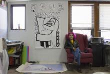 Cynthia Giron in her Oak Street Hall studio.