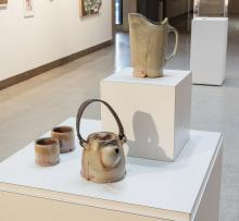 Shino Pitcher and Leather Strap Teapot Set by Horacio Casillas, winner of 3rd pr