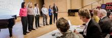 Finalists of the inaugural UNT Music Entrepreneurship Competition speak with jud