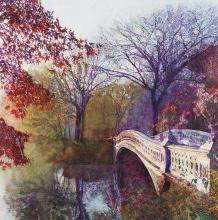 """Jennifer Spencer won the 2017 Jervis Underwood Best of Show Award from the VAST exhibition for her watercolor Reflection in an Autumn Pond """"vacation"""" series."""